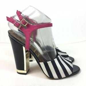 Sam Edelman Odetta Striped Satin Block Heel Sandal